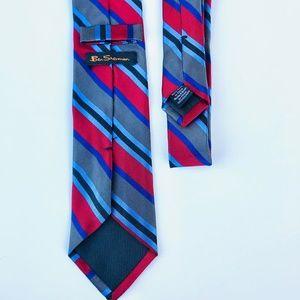 Ben Sherman Men's Red and Blue Striped Necktie